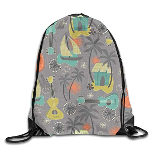 Drawstring Backpack Bags Ukulele Aloha Isl Breeze Sport Athletic Gym Sackpack for Men Women Breeze Lager