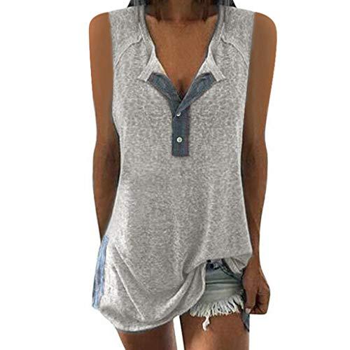TITIU Damen Lose Patchwork Casual Knopf Kurzarm Bluse Oberteil Tees T-Shirt Tops(X1-Grau,EU-42/CN-L) Rosa Capri-set