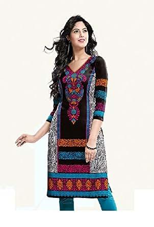 SELFIE UNSTITCH Black White and Multi color Egyptian Sattin Cotton Kurti Material 701