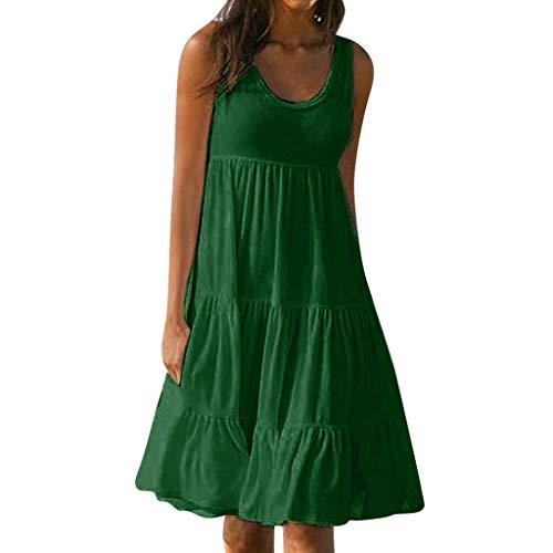 XuxMim Damen Mode Casual Plus Size Rose Print Chiffon O-Neck Rüschen Minikleid(Grün,X-Large) (U Spiel Wii Einhorn)