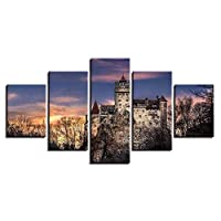 VCTQR 5 consecutive paintingsWall art canvas painting HD print home decoration 5 pieces castle house modular landscape picture bedroom artwork poster