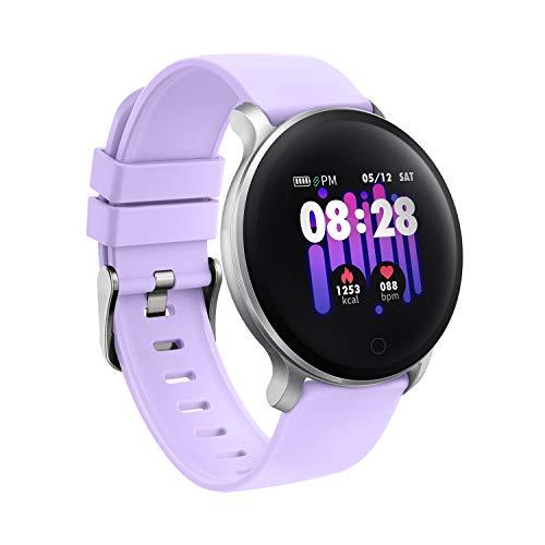 moreFit Fitness Armband Uhr, Smartwatch Fitness Tracker mit Pulsmesser Wasserdicht IP68 Fitness Uhr Pulsuhr Schrittzähler Uhr für Damen Herren Anruf SMS SNS Beachten (Lila)
