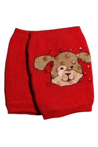 Weri Spezials Schutz fuer Knie. Krabbelhilfe mit ABS. Hund Motiv in Rot, Gr.92-98 (2-3 Jahre)