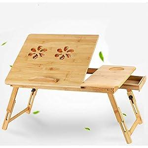 KOKR Faltbarer Schreibtisch des Klapptischs des Bambusnotizbuchtisch-Bettes mit Ventilator
