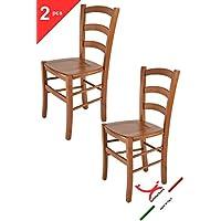 Tommychairs - Set 2 sedie modello VENICE per cucina e sala da pranzo, con robusta struttura in legno di faggio verniciata color ciliegio e con seduta in legno massello