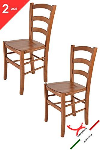 Tommychairs sedie di design - set 2 sedie modello venice per cucina e sala da pranzo dallo stile classico, con robusta struttura in legno di faggio verniciata color ciliegio e con seduta in legno massello