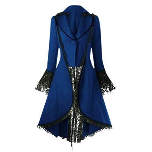 Tailcoats Kostüm - Supertong Damen Mäntel Unregelmäßige Steampunk Vintage Kleider Tailcoat Outwear Einfarbige Spitze Patchwork Jacke Smoking Mantel Gothic Langarm Cosplay Kostüm Uniform