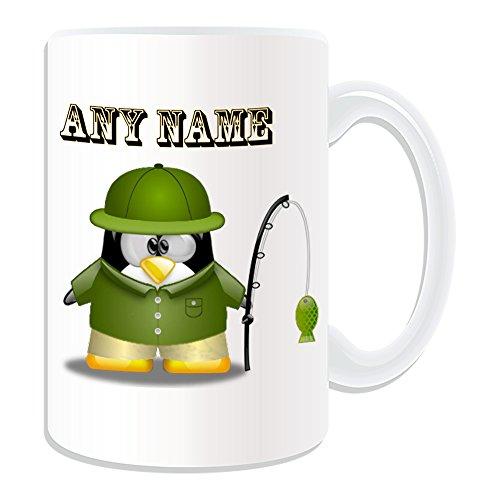 Personalisiertes Geschenk, großer Fisher in grün Tasse (Pinguin in Kostüm Design Thema, weiß)-alle Nachricht/Name auf Ihre einzigartige-Angeln