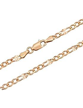 Figarokette gedrückt 925 Sterling Silber rose vergoldet 3,2mm Länge wählbar 45-50cm Silberkette Halskette Kette...