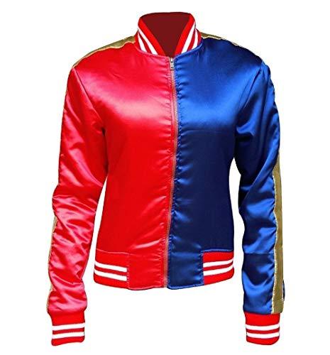 (Janisramone Mädchen Kinder Rot und blau Selbstmord Kader Halloween Kostüm Glänzend Nass Look Jacke Gamaschen Hose)