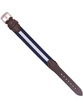 Zeichen Stoff und Leder Modisch Uhrarmband 18mm Ersatz Uhr Armbänder Navy / Elfenbein Mischfarbe DEB016