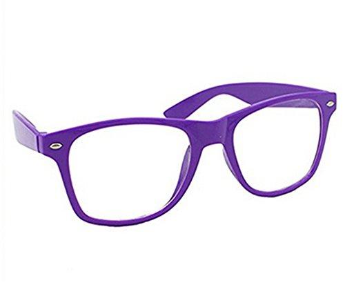 Nerd Brille , Ishua Damen und Herren Glasbrille Vintage 80er Jahre Geek Brille Dekoration (Lila)