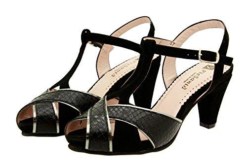 PieSanto Scarpe Donna Comfort Pelle 8258 Sandali Décolleté Comfort Larghezza Speciale Negro