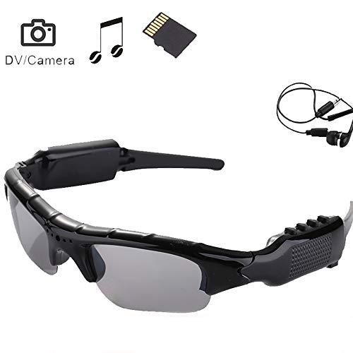 YDYJZN Tragbare Bluetooth Sonnenbrille 1080p Kamera Brille Mini DV Videorekorder Gläser Bluetooth Kopfhörer Händefrei Fahrbrille Sportbrillen Radsport Sonnenbrille mit