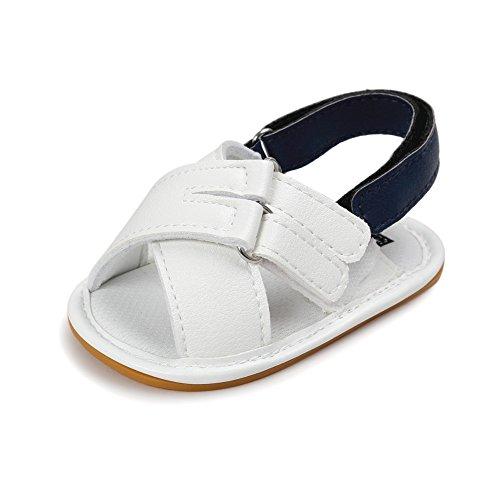 MiyaSudy Tout-petits Bébés Garçons Chaussures PU Cuir Semelles Souples Antidérapantes Sandales Chaussures Blanc