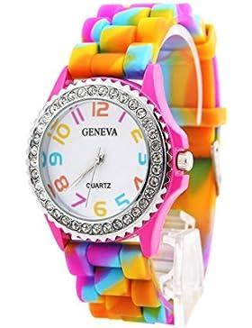 KAIKSO-IN Neue Genfer Regenbogen-Kristallrhinestone -Uhr-Silikon-Gelee Link-Band