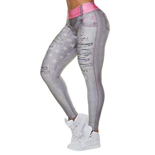 NHNX Damen Hosen Jeans Frauen Nehmen Imitat Fälschungs Zerrissenes Loch Gamaschen Stern Art-Und Weiseeignungs Yoga Ladies Star Print Shredded Yogahosen - Dark Leopard-print-hose