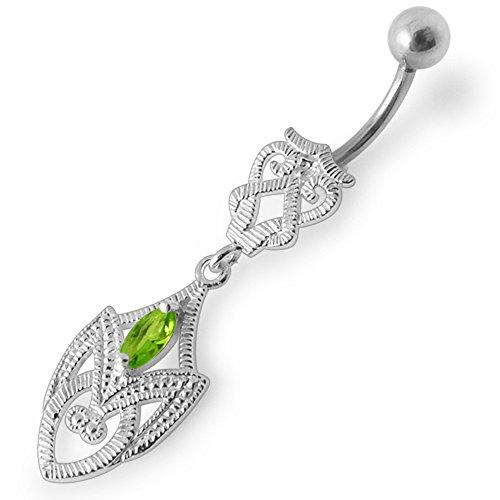 Barres de Pierre en cristal tendance arme Tribal Design 925 argent Sterling avec le ventre en acier inoxydable Light Green