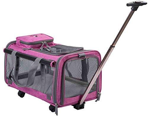 MOVEPEAK, passeggino per animali, pieghevole, con ruote, elegante, con comodo tappetino in pile per viaggi, escursioni, campeggio, progettato per gatti, cani, cuccioli