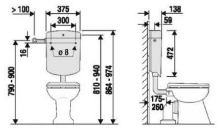 ABU WC Spülkasten Verona 6 Liter Farbe: pergamon, 2 Mengen