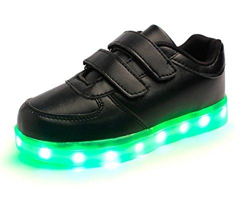 E Support Unisex Kinder Jungen Mädchen LED Schuhe Leuchtend Sneaker Blinkschuhe Farbwechsel USB Aufladen Fluorescence Sportsschuhe Turnschuhe Schwarz