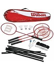 Wilson - Juego de bádminton (4 raquetas, red, postes y 3 volantes)