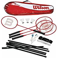 Wilson Tour 4 Racket Badminton Set With Net, Post & Shuttles