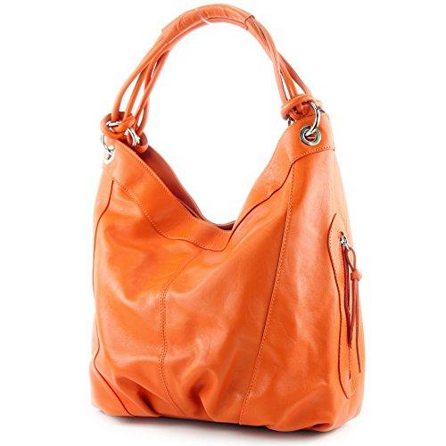 modamoda de - ital. Handtasche Damentasche Schultertasche Ledertasche Tasche Nappaleder Z18, Präzise Farbe:Orange (Stoff-handtaschen Orange)