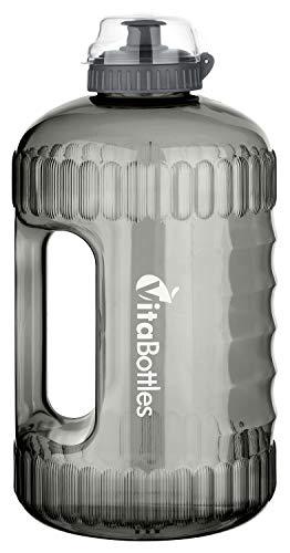 VitaBottles Gym Bottle Fitness Trinkflasche 2.2 Liter 2200ml XXL BPA-Free DHEP-Free schwarz Sport Water Jug Wasserkanister Water Gallon/Empfohlene Trinkmenge über den Tag - Tag Jug