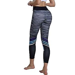 Bornbayb Frauen-Streifen-Gedruckte Yogahosen mit hoher Taille Bauch-Kontrolle-Trainings-Legging