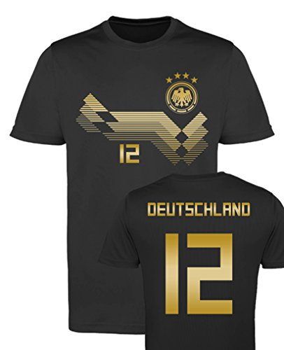 Comedy-Shirts EM WM - TRIKOT - DEUTSCHLAND 12 - Herren Trikot - Schwarz/Gold Gr. XL