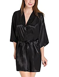 Bomshel Women Satin Babydoll Kimono Nightwear Robe