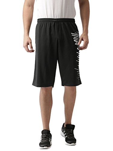 2Go Men's Polyester Go Dry Basket Ball Shorts (Bold Black, Large)