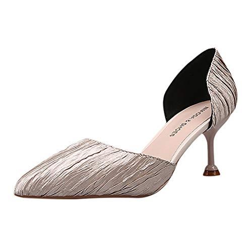 DFMNE Sandalen für Hochzeiten, Damen, Mädchen, Damen, Party, Frühling, Sommer, Tanz, elegant, spitz, dünn, Silber - Silber - Größe: 38 EU