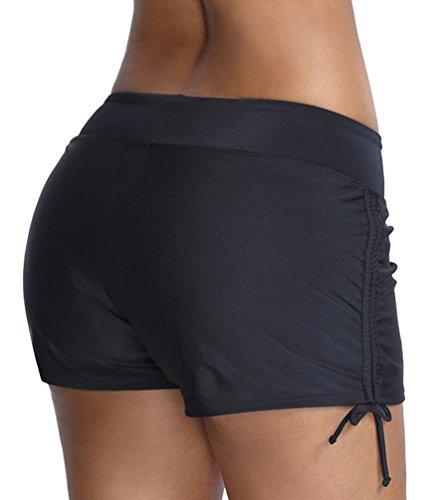 OLIPHEE Damen Badeshorts Bikinihose Wassersport Hotpants Verstellbare Kordel Bände Schwimmshorts Bunte Farben Schwarz