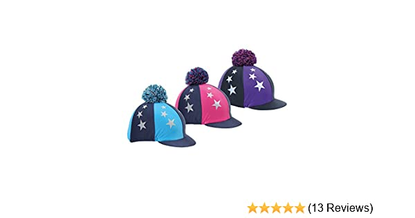 49b2753b7830c Shires Pom Pom Hat Cover with Stars-Navy/Pink 53-62cm: Amazon.co.uk: Sports  & Outdoors