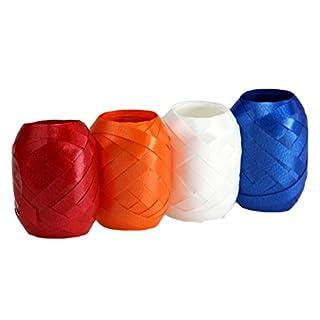 autooptimierer.de Ringelband Set Extra Breit 4 Stück Geschenkband Schleifenband Eiknäuel Polyband (Orange/Blau/Rot/weiß)