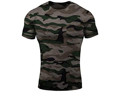 Herren Frühling Sommer Oansatz Kurzarm Camouflage Print T-Shirt (L, Tarnung ohne Druck)