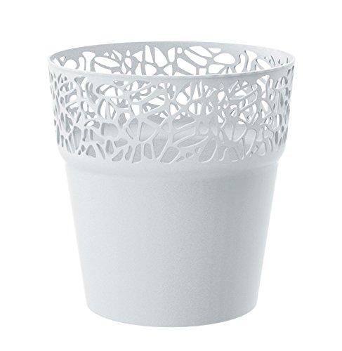 Rond cache-pot 17.5 cm NATURO plastique romantique style en blanc