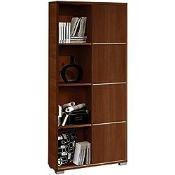 Librería estantería de pie color wengué con puerta corredera y tiras decorativas metalizadas de salón, comedor o oficina. 180cm altura x 80cm ancho x 32cm fondo.