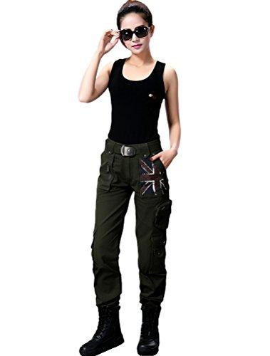 MatchLife Lovers Sport Camouflage Straight Pantalon Style2-Armée Verte