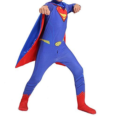 n Cosplay Kostüm, Kinder Kostüm Overall Onesies Cape Halloween Kleidung Weihnachten Maskerade Party Festival Geschenk,Blue- 140cm ()