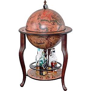 Stilemo Globus bar im Antikdesign – Globusbar in edlem rotbraun – geöffnete Hausbar antik 115 cm hoch – 61 cm…