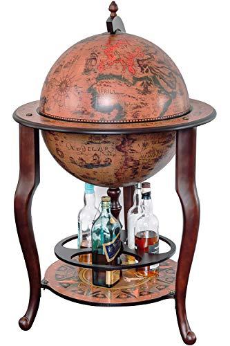 Stilemo Globus bar im Antikdesign - Globusbar in edlem rotbraun - geöffnete Hausbar antik 115 cm hoch - 61 cm Durchmesser - für eine stilvolle Whiskey Aufbewahrung (Mehrfarbig)