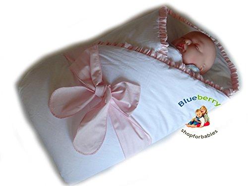 BlueberryShop Satin Wickeldecke Decke Bettdecke für Neugeborene Baby 100% Baumwolle 0-4M ( 0-3m ) ( 78 x 78 cm ) Rosa