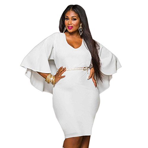 Flare Sleeve Plus Size Party Dress Soirée Blanc