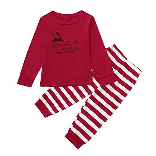 Weihnachten Familie Kleidung Set LSAltd Mama & Papa & Mich Brief Streifen Print Outfit Kinder Jungen Mädchen Langarm Weihnachten Kleidung Set