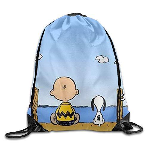 Ktmasa Snoopy and Charlie Brown Drawstring Backpack Rucksack Shoulder Bags Gym Bag -