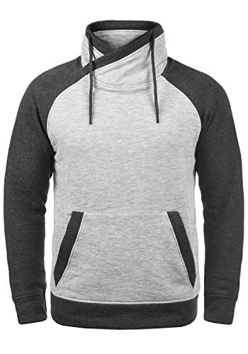 JACK & JONES Core Ridge Herren Sweatpullover Pullover Mit Cross-Over Kragen Stehkragen, Größe:M, Farbe:Light Grey Melange