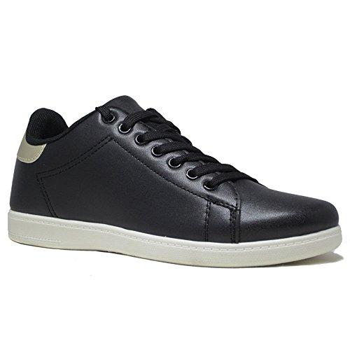 Un Confort pour femme course à pied sport dentelle jusqu'à formateurs Sneakers Taille Multicolore - Noir/doré